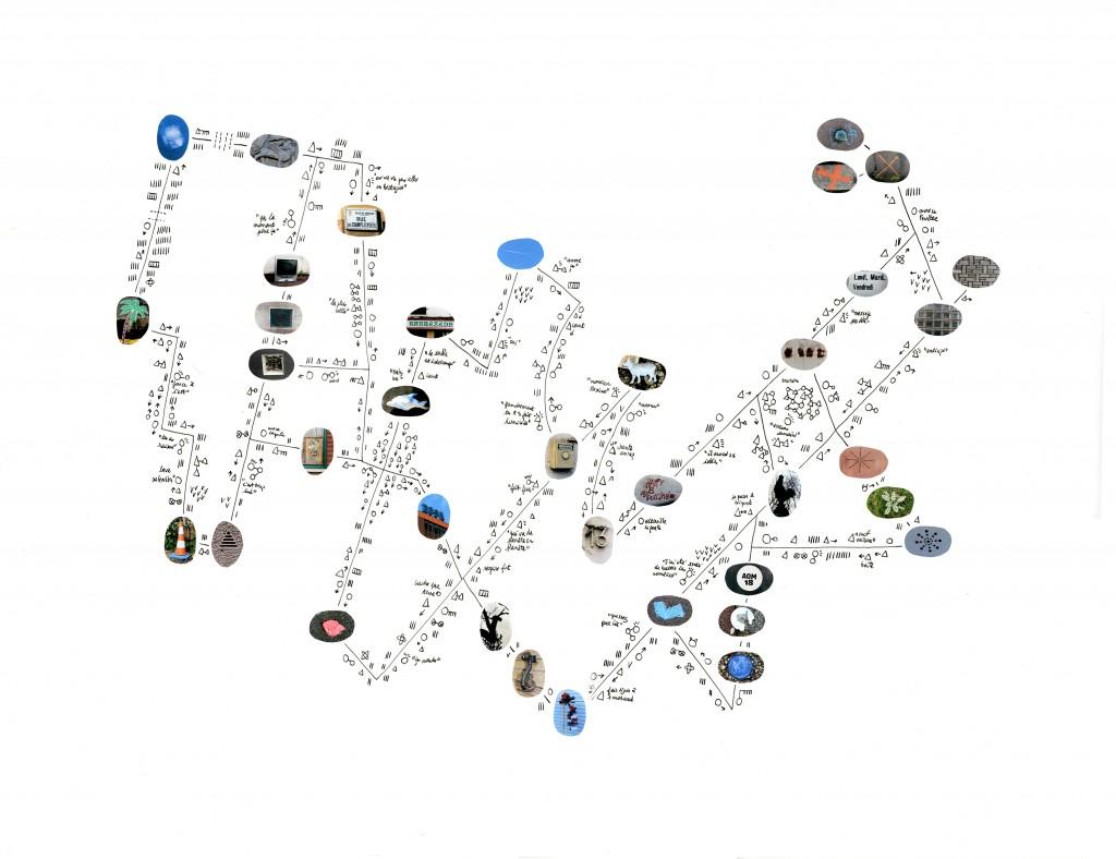 UrbanOmen, cartographie divinatoire, encre et collage, 55x65 cm, 2017